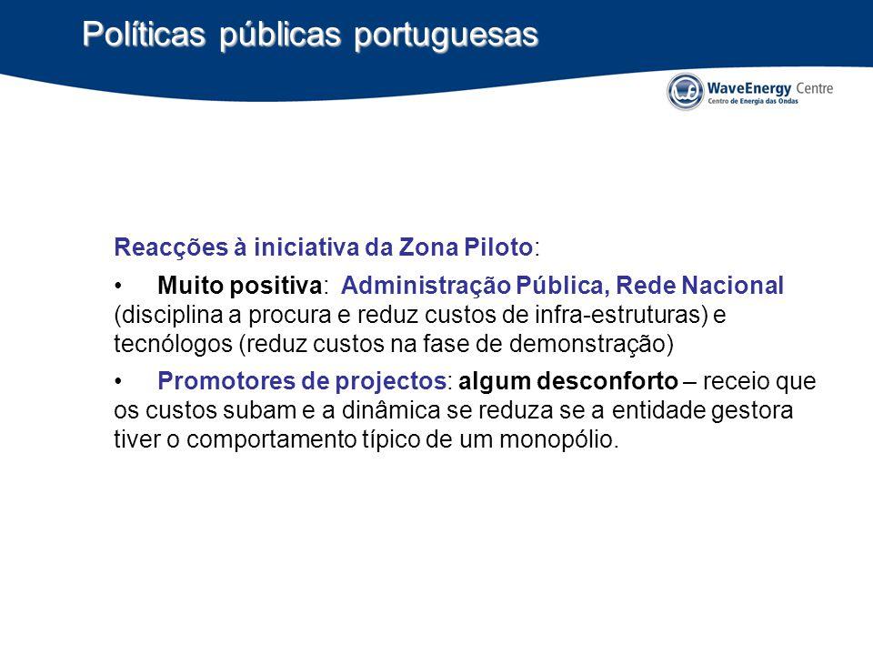 Políticas públicas portuguesas Reacções à iniciativa da Zona Piloto: Muito positiva: Administração Pública, Rede Nacional (disciplina a procura e redu