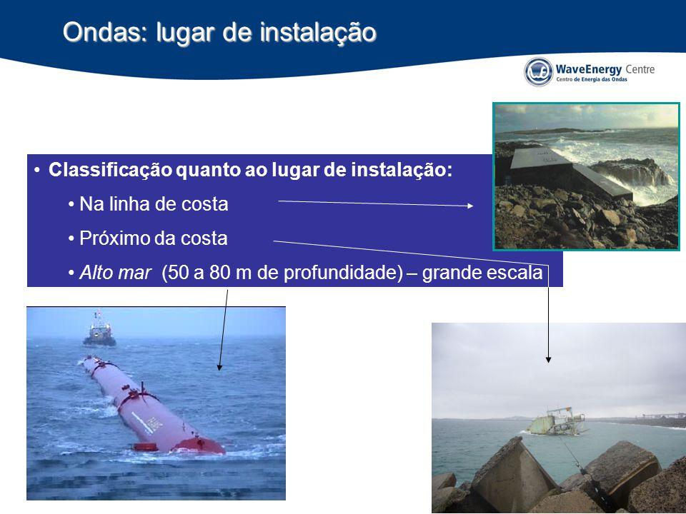 Ondas: lugar de instalação Classificação quanto ao lugar de instalação: Na linha de costa Próximo da costa Alto mar (50 a 80 m de profundidade) – grande escala
