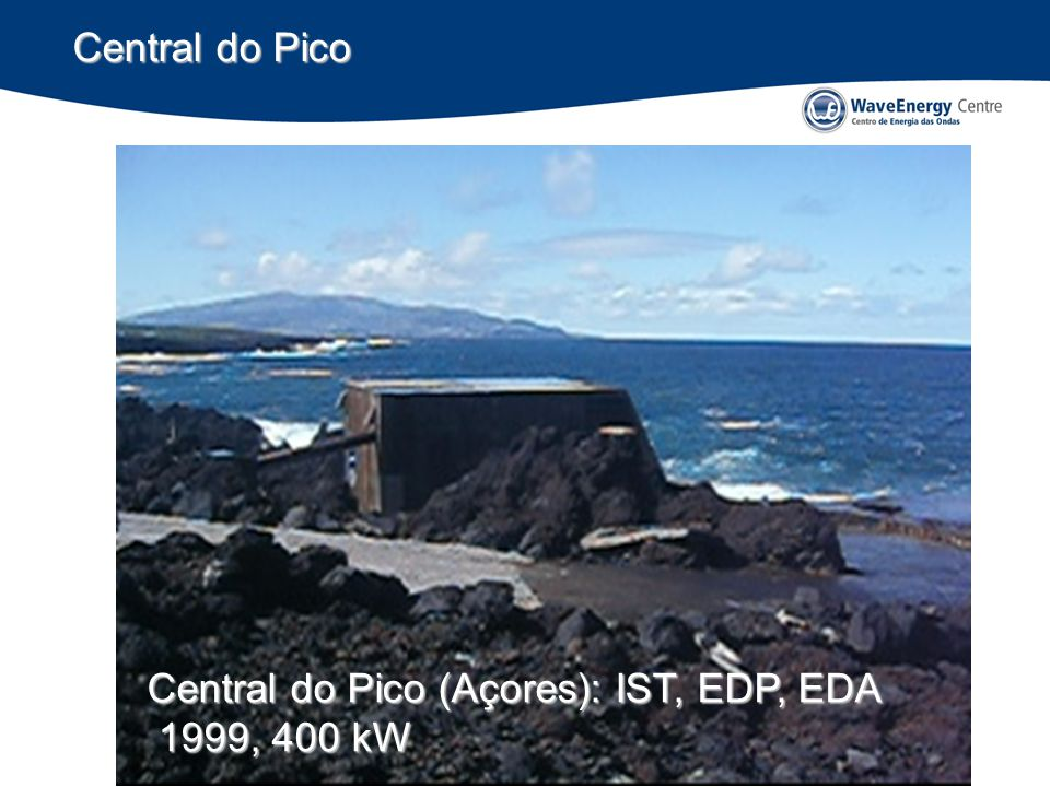 Impactes ambientais (Portugal) Impactes ambientais esperados baixos (ruído?, dinâmica costeira?) Conflito com navegação pequenos se as rotas de acesso aos portos forem evitadas e tomadas medidas de mitigação Conflitos moderados com a pesca (criação de novos empregos) Profundidades de água: 50 ~ 80 m Portugal: pesca tradicional < 30 m de profundidade de água; pesca industrial para lá das 6 milhas (~100 m water depth) Impactes ambientais positivos (CO 2, áreas protegidas?)