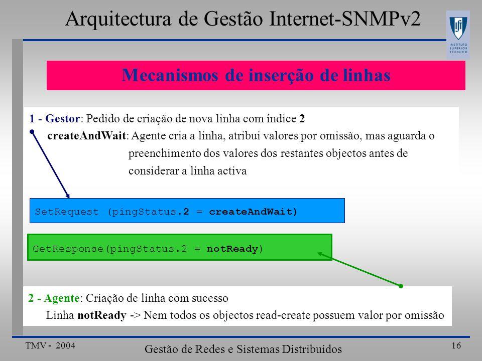 TMV - 2004 Gestão de Redes e Sistemas Distribuídos 16 Mecanismos de inserção de linhas Arquitectura de Gestão Internet-SNMPv2 SetRequest (pingStatus.2 = createAndWait) 1 - Gestor: Pedido de criação de nova linha com índice 2 createAndWait: Agente cria a linha, atribui valores por omissão, mas aguarda o preenchimento dos valores dos restantes objectos antes de considerar a linha activa GetResponse(pingStatus.2 = notReady) 2 - Agente: Criação de linha com sucesso Linha notReady -> Nem todos os objectos read-create possuem valor por omissão