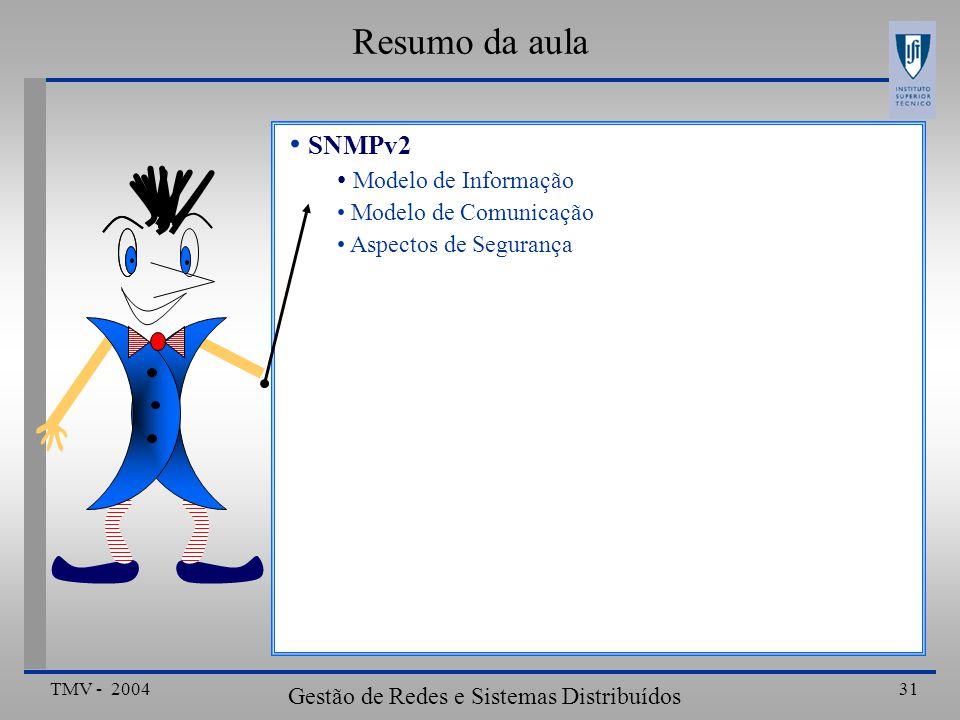 TMV - 2004 Gestão de Redes e Sistemas Distribuídos 31 Resumo da aula SNMPv2 Modelo de Informação Modelo de Comunicação Aspectos de Segurança