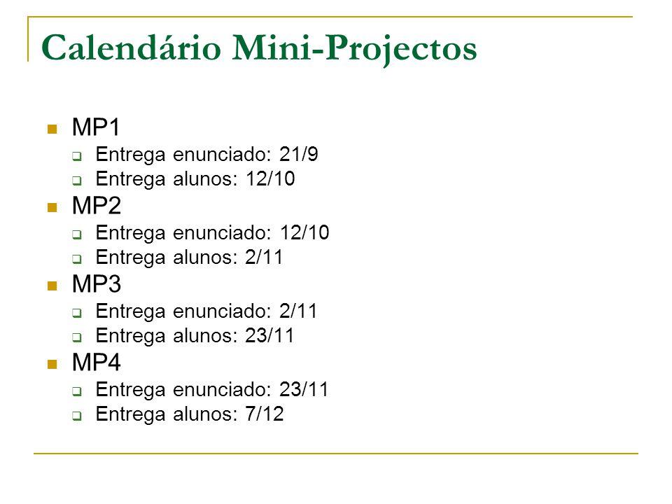 Calendário Mini-Projectos MP1 Entrega enunciado: 21/9 Entrega alunos: 12/10 MP2 Entrega enunciado: 12/10 Entrega alunos: 2/11 MP3 Entrega enunciado: 2/11 Entrega alunos: 23/11 MP4 Entrega enunciado: 23/11 Entrega alunos: 7/12