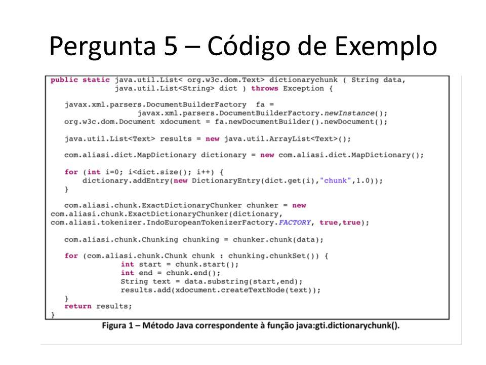 Pergunta 5 – Código de Exemplo