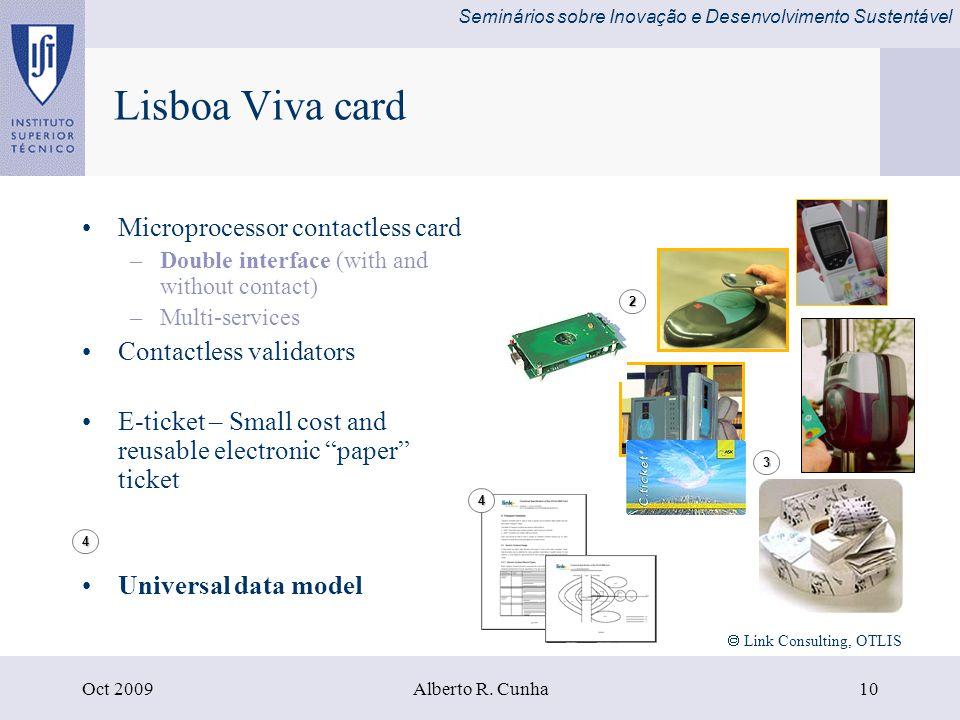 Seminários sobre Inovação e Desenvolvimento Sustentável Oct 2009Alberto R.