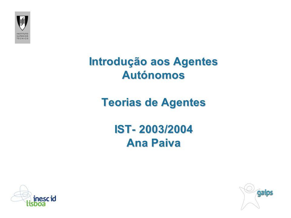 Introdução aos Agentes Autónomos Teorias de Agentes IST- 2003/2004 Ana Paiva