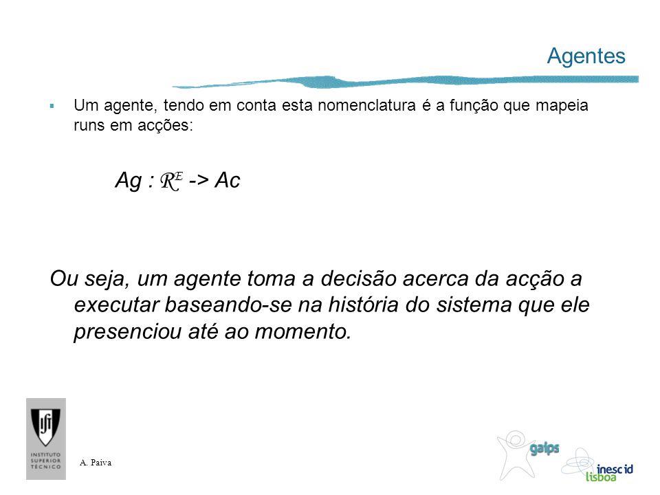 A. Paiva Agentes Um agente, tendo em conta esta nomenclatura é a função que mapeia runs em acções: Ag : R E -> Ac Ou seja, um agente toma a decisão ac