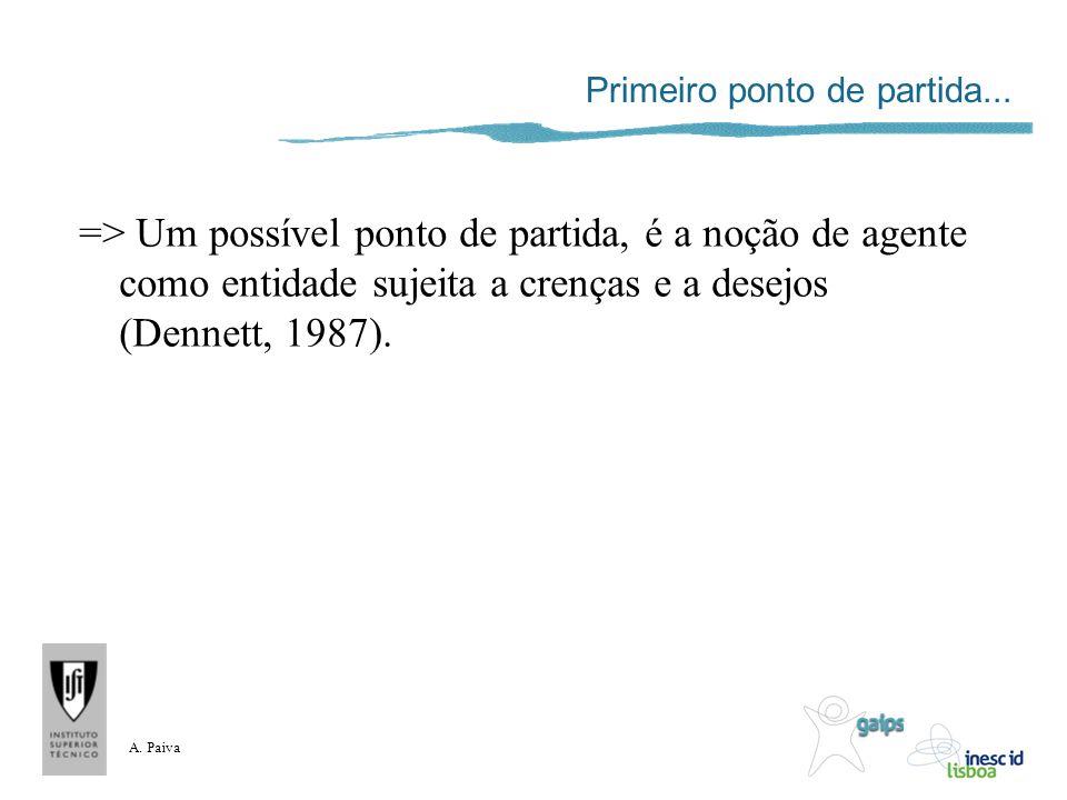 A. Paiva Primeiro ponto de partida... => Um possível ponto de partida, é a noção de agente como entidade sujeita a crenças e a desejos (Dennett, 1987)