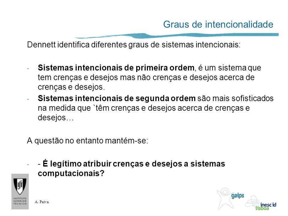 A. Paiva Graus de intencionalidade Dennett identifica diferentes graus de sistemas intencionais: - Sistemas intencionais de primeira ordem, é um siste