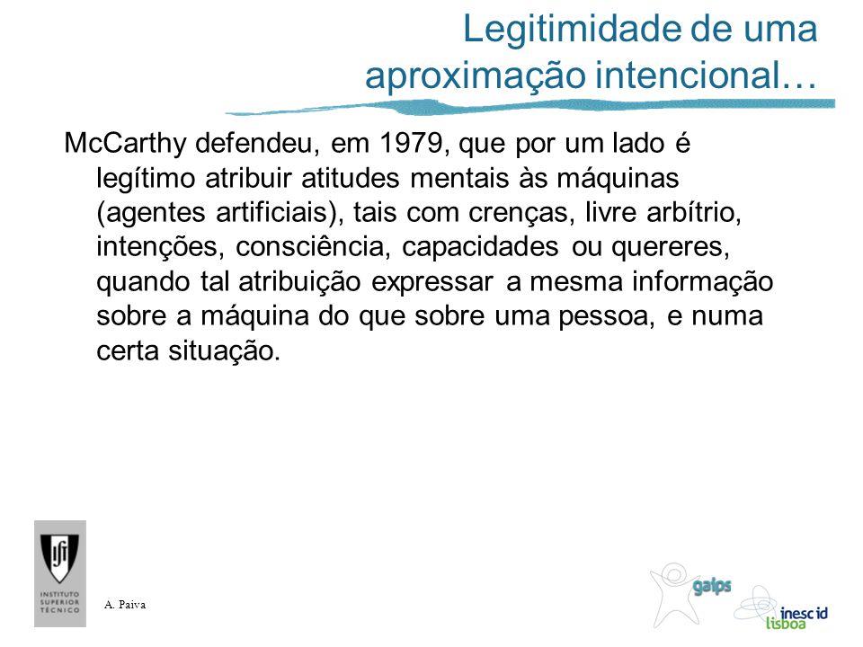 A. Paiva Legitimidade de uma aproximação intencional… McCarthy defendeu, em 1979, que por um lado é legítimo atribuir atitudes mentais às máquinas (ag