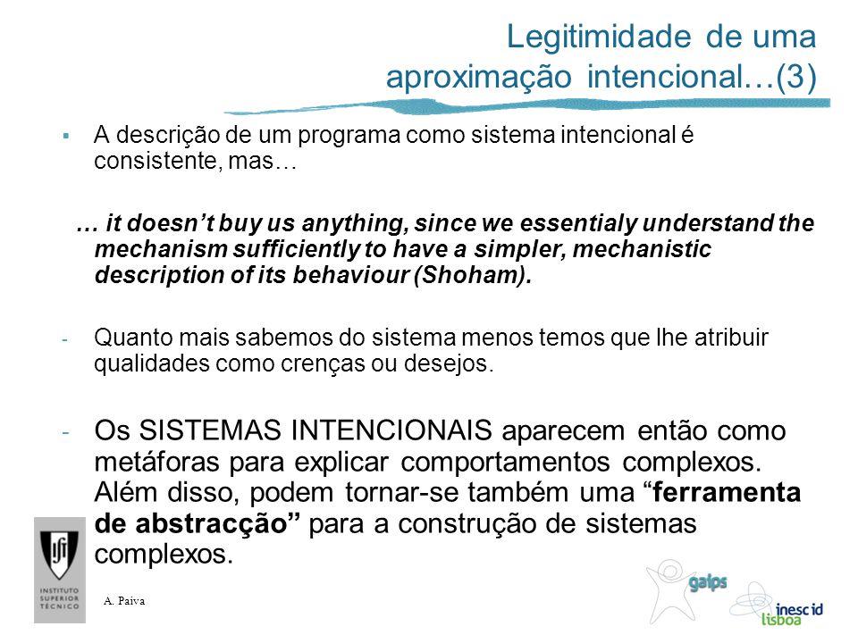 A. Paiva Legitimidade de uma aproximação intencional…(3) A descrição de um programa como sistema intencional é consistente, mas… … it doesnt buy us an