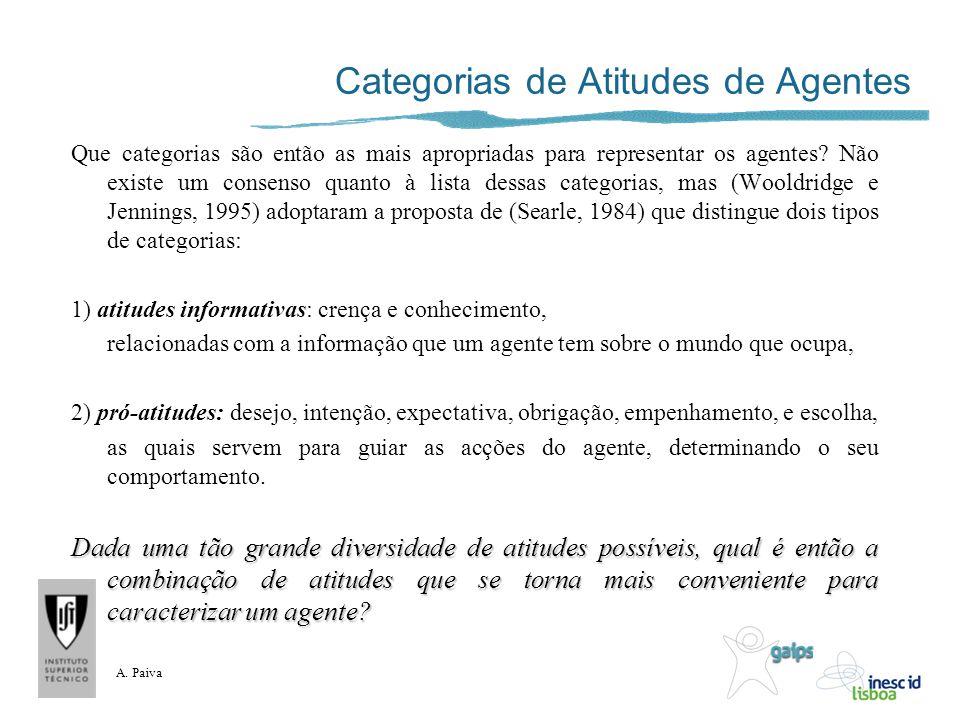 A. Paiva Categorias de Atitudes de Agentes Que categorias são então as mais apropriadas para representar os agentes? Não existe um consenso quanto à l