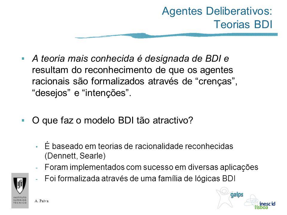 A. Paiva Agentes Deliberativos: Teorias BDI A teoria mais conhecida é designada de BDI e resultam do reconhecimento de que os agentes racionais são fo