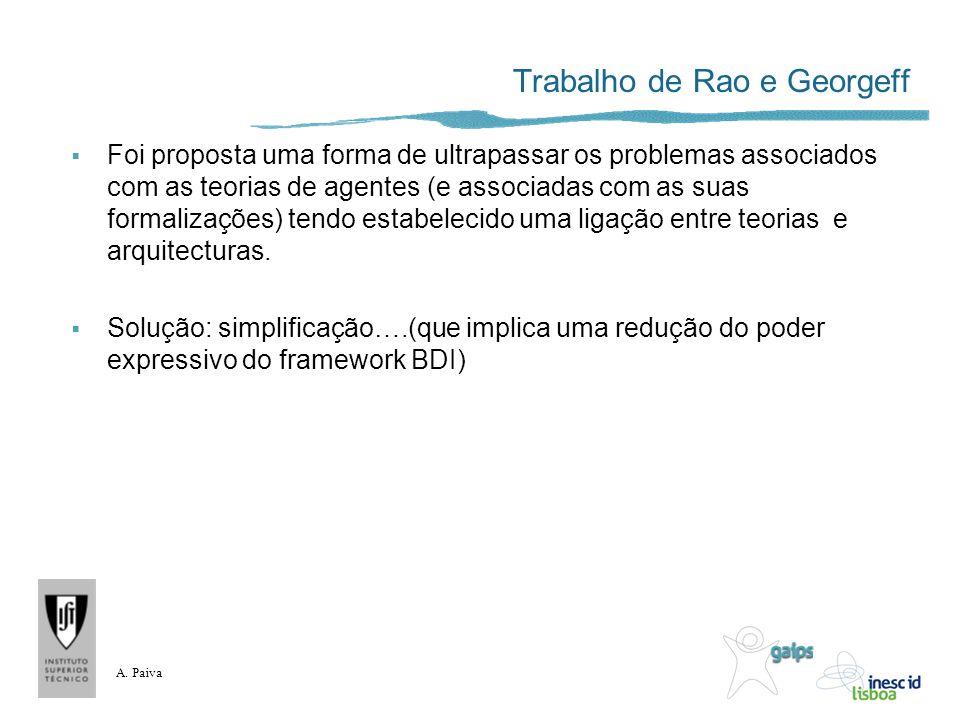 A. Paiva Trabalho de Rao e Georgeff Foi proposta uma forma de ultrapassar os problemas associados com as teorias de agentes (e associadas com as suas