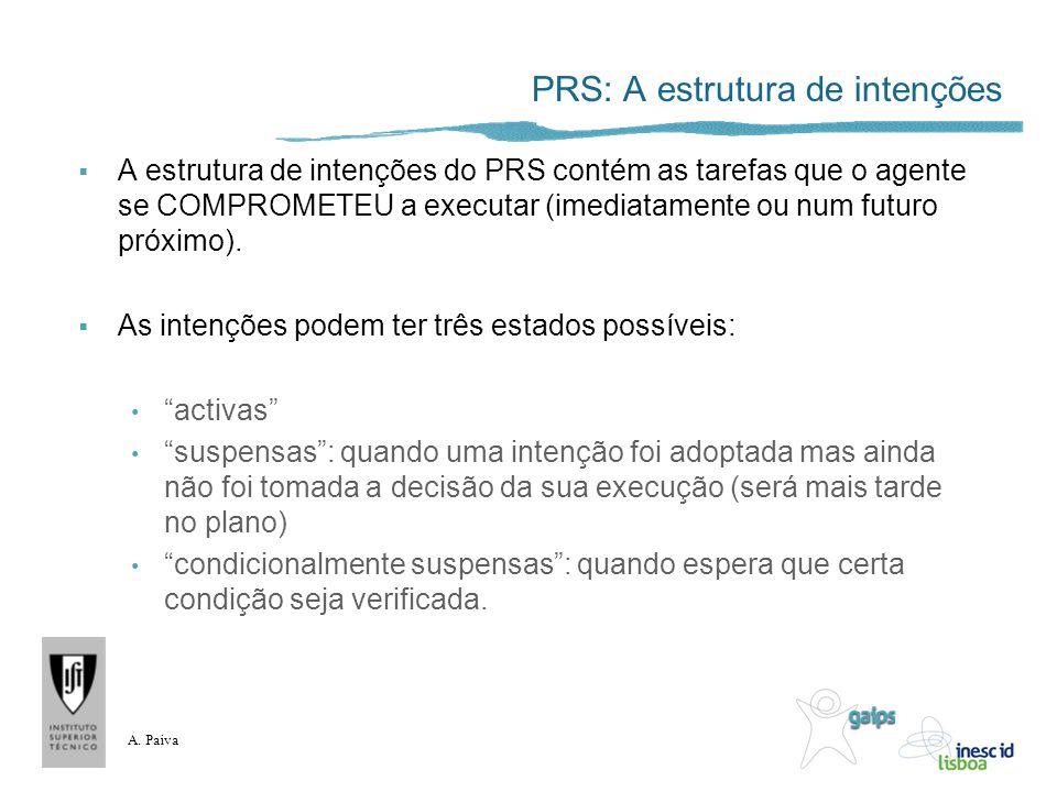 A. Paiva PRS: A estrutura de intenções A estrutura de intenções do PRS contém as tarefas que o agente se COMPROMETEU a executar (imediatamente ou num