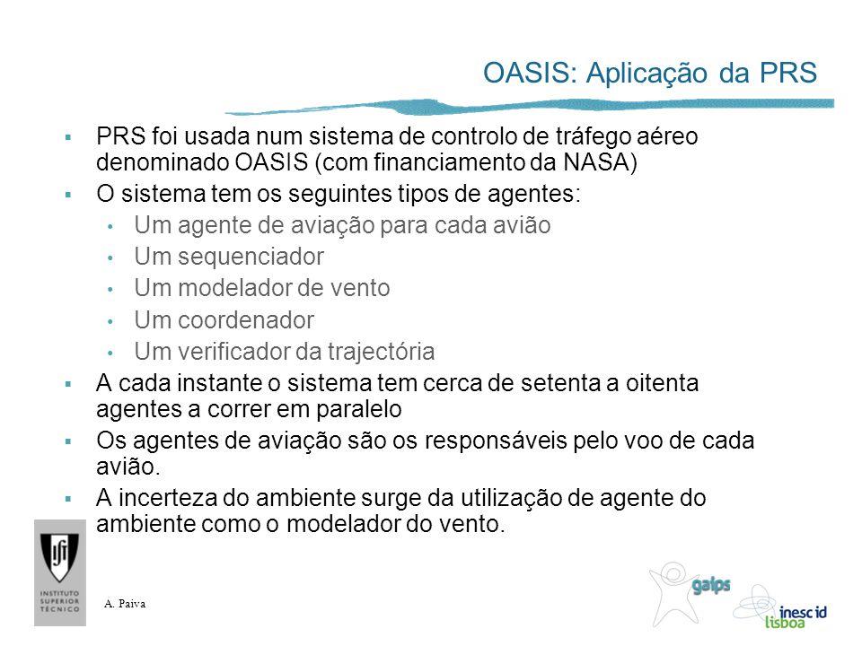 A. Paiva OASIS: Aplicação da PRS PRS foi usada num sistema de controlo de tráfego aéreo denominado OASIS (com financiamento da NASA) O sistema tem os