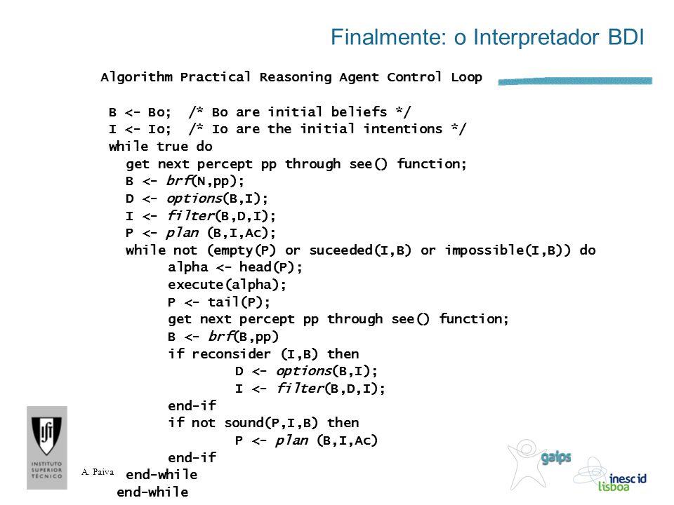 A. Paiva Finalmente: o Interpretador BDI Algorithm Practical Reasoning Agent Control Loop B <- Bo; /* Bo are initial beliefs */ I <- Io; /* Io are the
