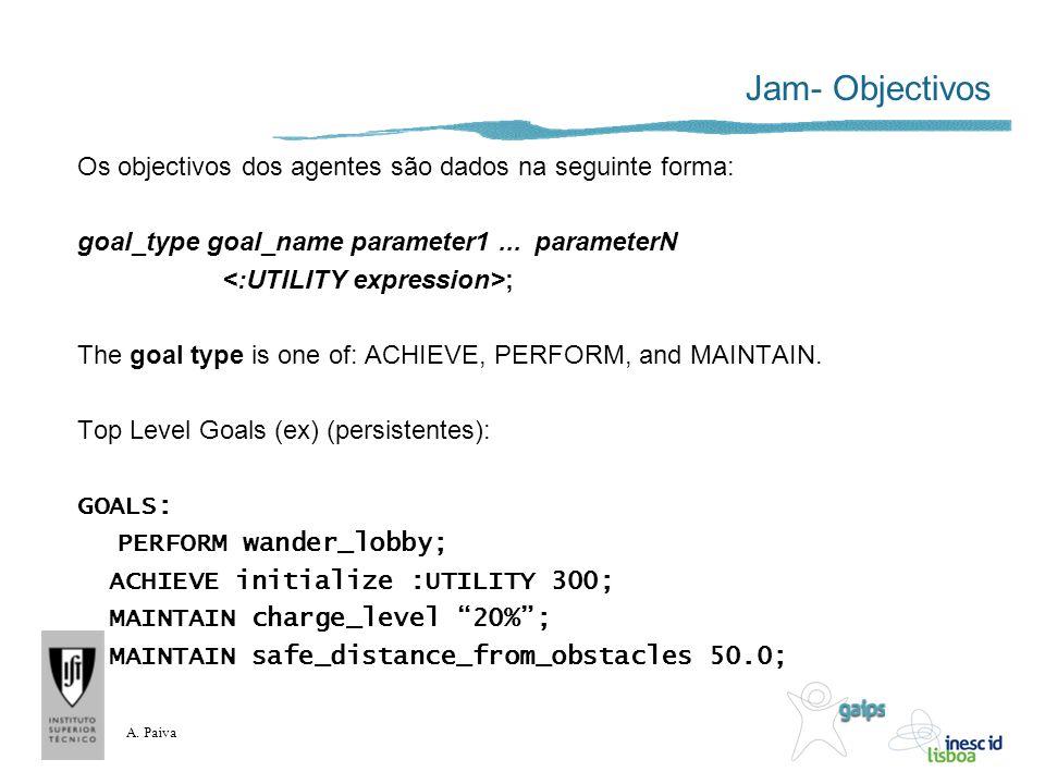A. Paiva Jam- Objectivos Os objectivos dos agentes são dados na seguinte forma: goal_type goal_name parameter1... parameterN ; The goal type is one of