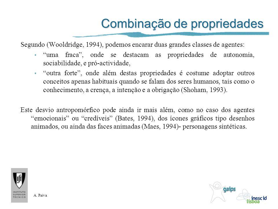 Combinação de propriedades Segundo (Wooldridge, 1994), podemos encarar duas grandes classes de agentes: uma fraca, onde se destacam as propriedades de