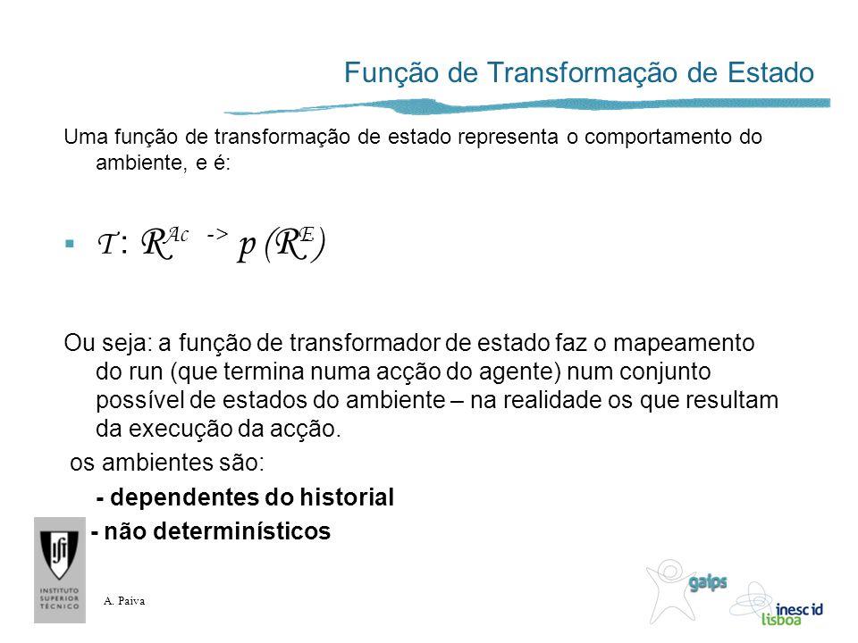 A. Paiva Função de Transformação de Estado Uma função de transformação de estado representa o comportamento do ambiente, e é: T : R Ac -> p ( R E ) Ou