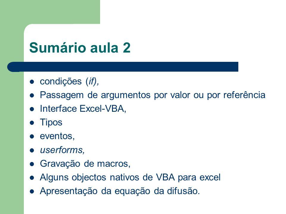 Sumário aula 2 condições (if), Passagem de argumentos por valor ou por referência Interface Excel-VBA, Tipos eventos, userforms, Gravação de macros, Alguns objectos nativos de VBA para excel Apresentação da equação da difusão.