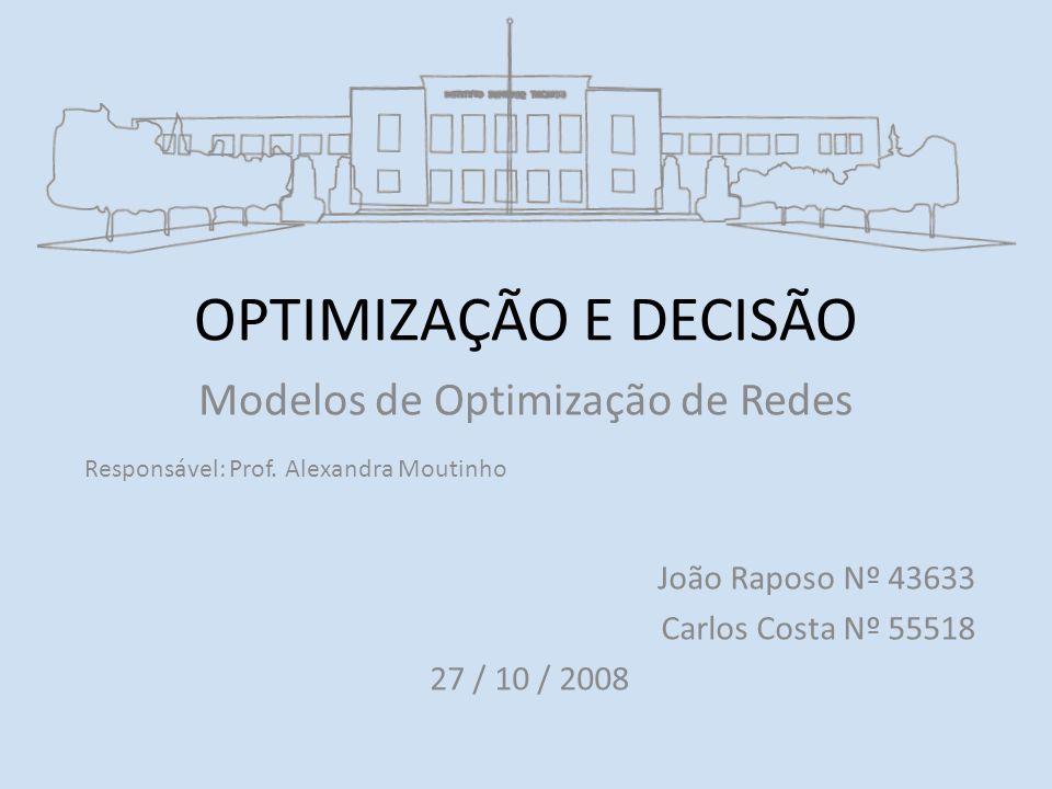 OPTIMIZAÇÃO E DECISÃO Modelos de Optimização de Redes Responsável: Prof.