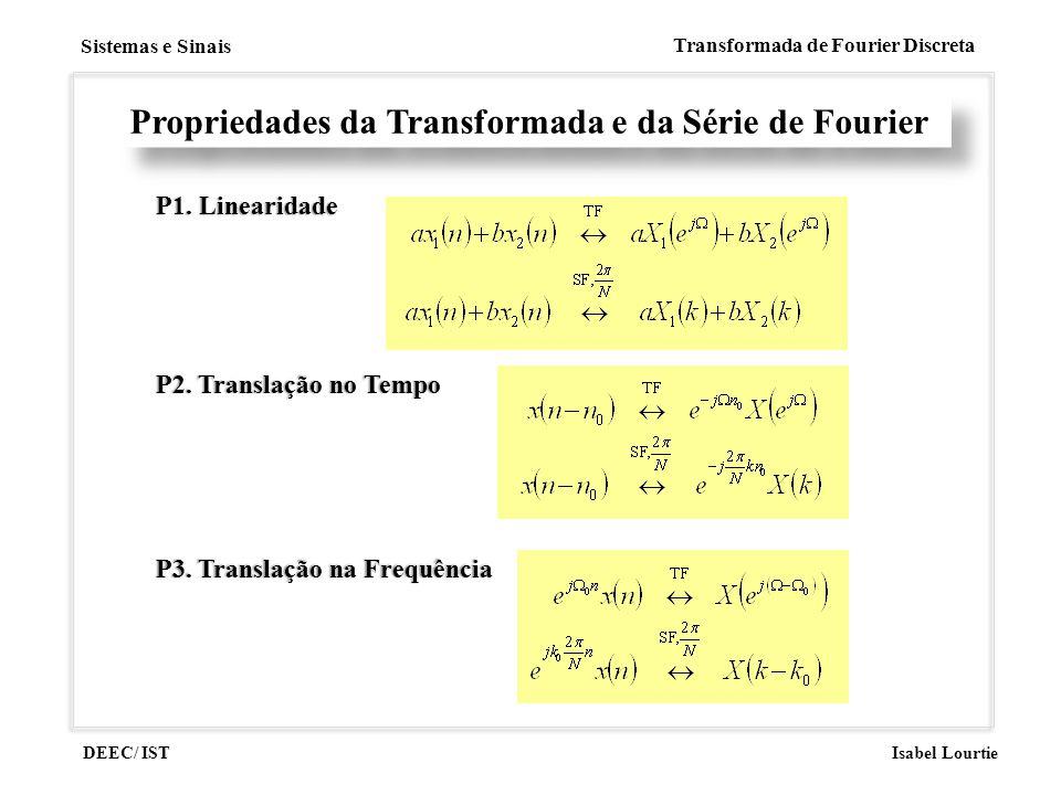 DEEC/ IST Isabel Lourtie Sistemas e Sinais Transformada de Fourier Discreta Propriedades da Transformada e da Série de Fourier P1. LinearidadeP1. Line
