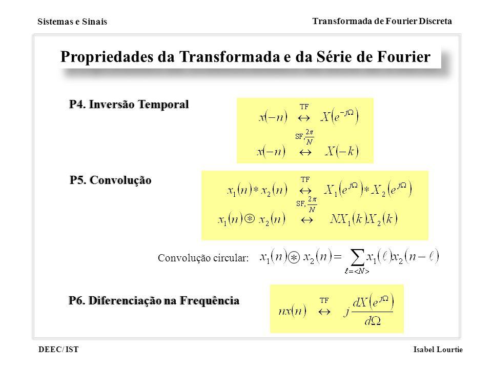 DEEC/ IST Isabel Lourtie Sistemas e Sinais Transformada de Fourier Discreta P4. Inversão TemporalP4. Inversão Temporal Propriedades da Transformada e