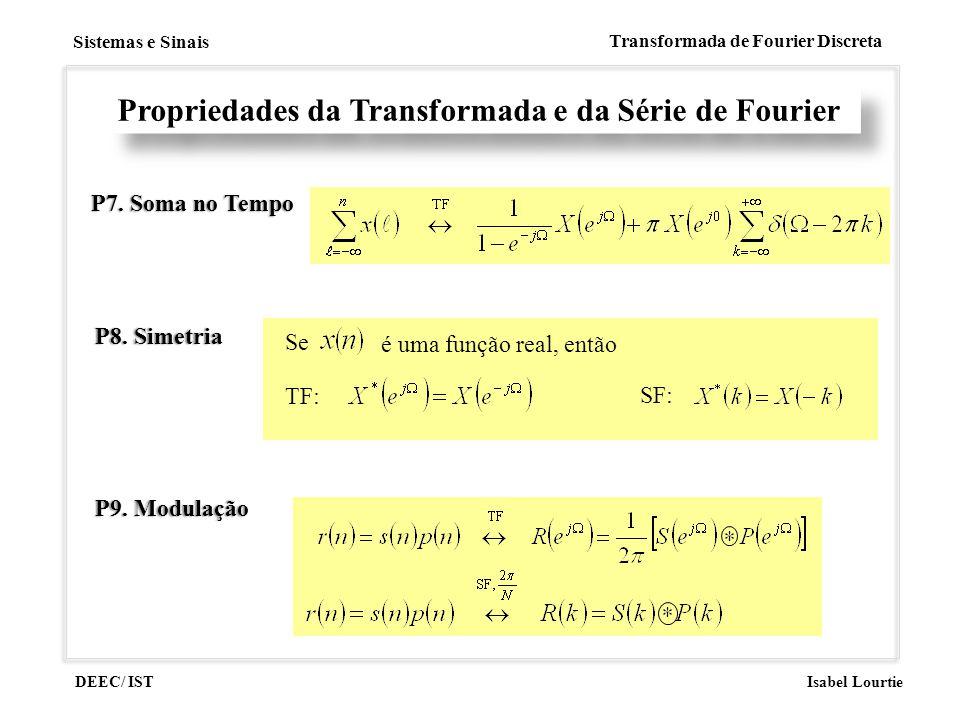 DEEC/ IST Isabel Lourtie Sistemas e Sinais Transformada de Fourier Discreta Propriedades da Transformada e da Série de Fourier P7. Soma no TempoP7. So