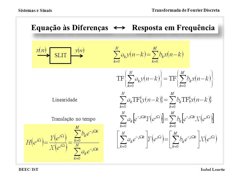DEEC/ IST Isabel Lourtie Sistemas e Sinais Transformada de Fourier Discreta Equação às Diferenças Resposta em Frequência SLIT Linearidade Translação n
