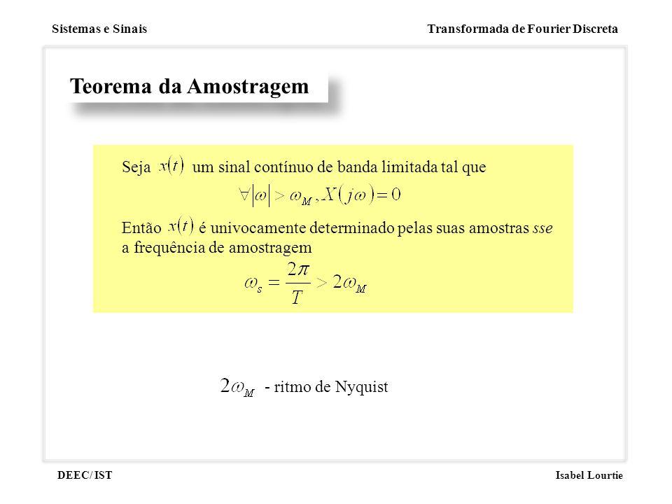 Sistemas e Sinais Transformada de Fourier Discreta DEEC/ ISTIsabel Lourtie Teorema da Amostragem Seja um sinal contínuo de banda limitada tal que Entã