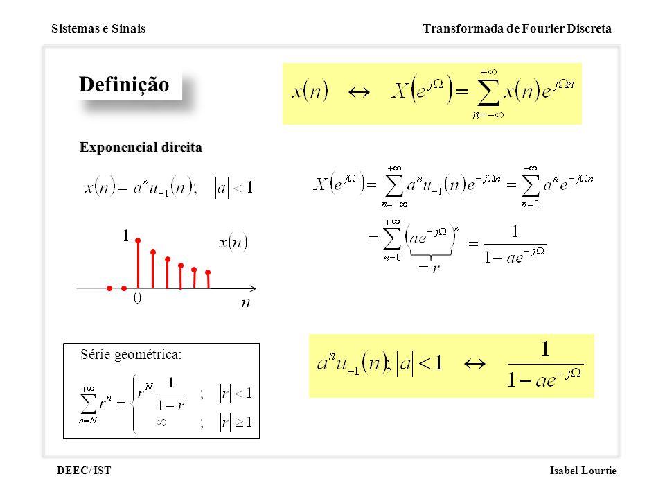 Sistemas e Sinais Transformada de Fourier Discreta DEEC/ ISTIsabel Lourtie Definição Exponencial direitaExponencial direita Série geométrica: