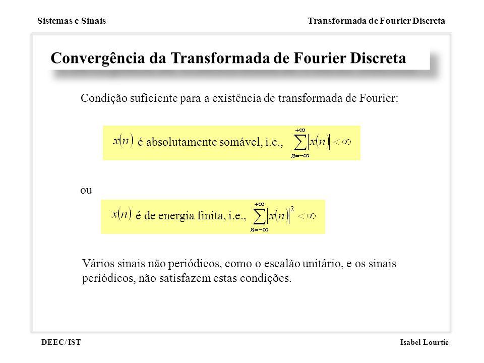 Sistemas e Sinais Transformada de Fourier Discreta DEEC/ ISTIsabel Lourtie Convergência da Transformada de Fourier Discreta Condição suficiente para a
