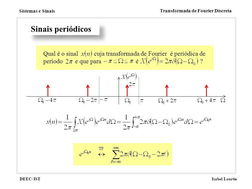 DEEC/ IST Isabel Lourtie Sistemas e Sinais Transformada de Fourier Discreta Sinais periódicos Qual é o sinal cuja transformada de Fourier é periódica