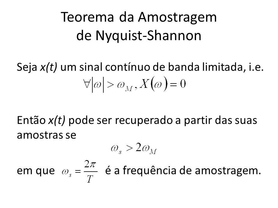 Teorema da Amostragem de Nyquist-Shannon Seja x(t) um sinal contínuo de banda limitada, i.e. Então x(t) pode ser recuperado a partir das suas amostras