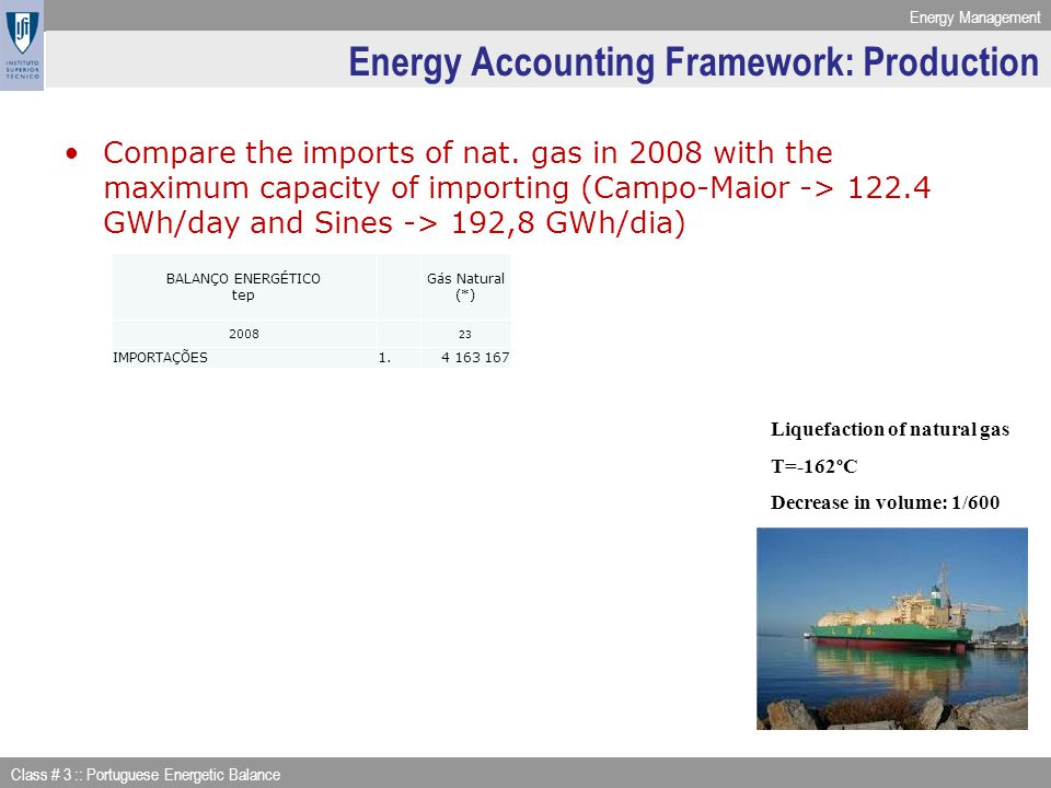 Energy Management Class # 3 :: Portuguese Energetic Balance Energy Accounting Framework: Production Compare the imports of nat. gas in 2008 with the m