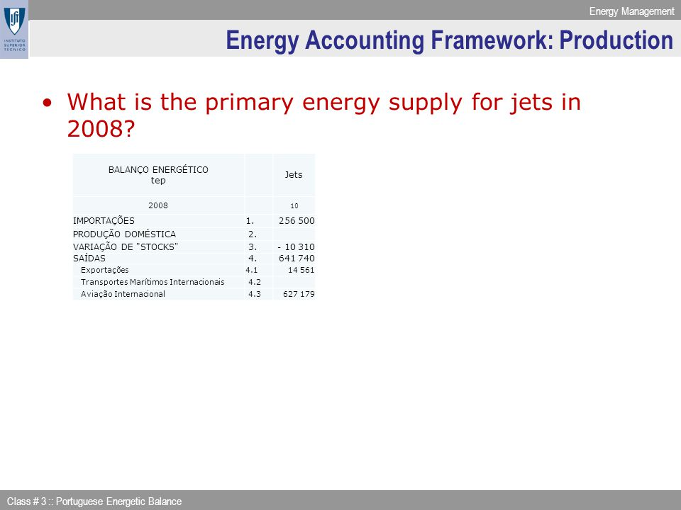 Energy Management Class # 3 :: Portuguese Energetic Balance Energy Accounting Framework: Production What is the primary energy supply for jets in 2008