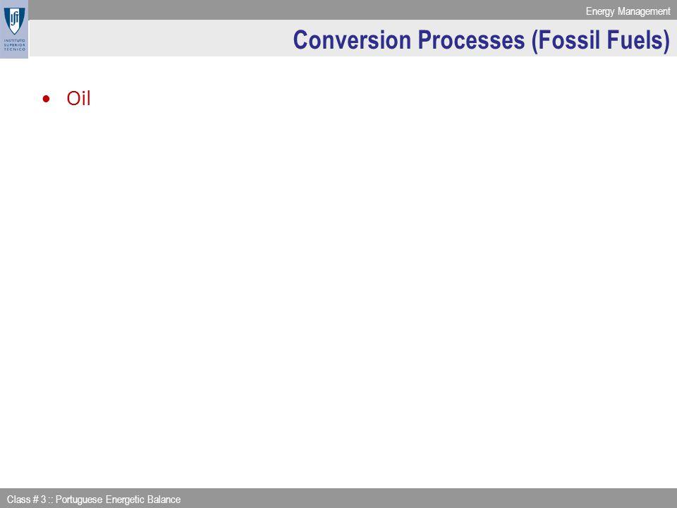 Energy Management Class # 3 :: Portuguese Energetic Balance Conversion Processes (Fossil Fuels) Oil