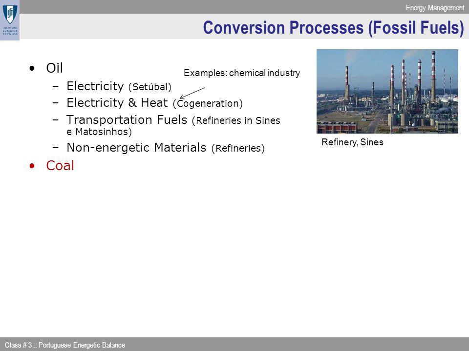 Energy Management Class # 3 :: Portuguese Energetic Balance Conversion Processes (Fossil Fuels) Oil –Electricity (Setúbal) –Electricity & Heat (Cogene