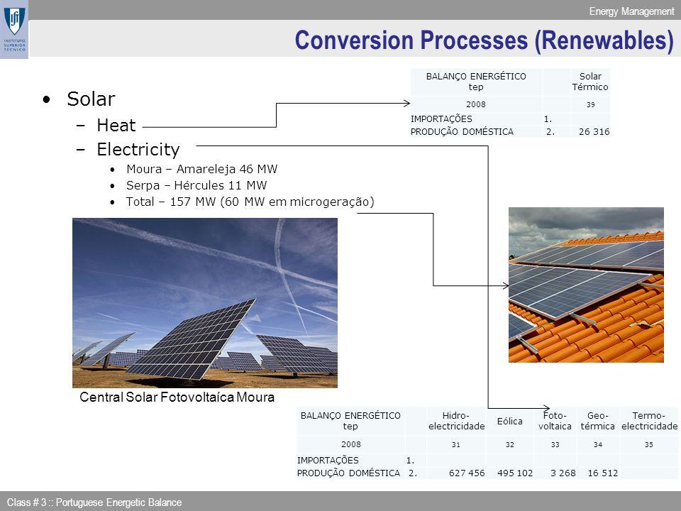 Energy Management Class # 3 :: Portuguese Energetic Balance Conversion Processes (Renewables) Solar –Heat –Electricity Moura – Amareleja 46 MW Serpa –