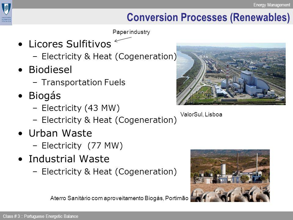 Energy Management Class # 3 :: Portuguese Energetic Balance Conversion Processes (Renewables) Licores Sulfitivos –Electricity & Heat (Cogeneration) Bi