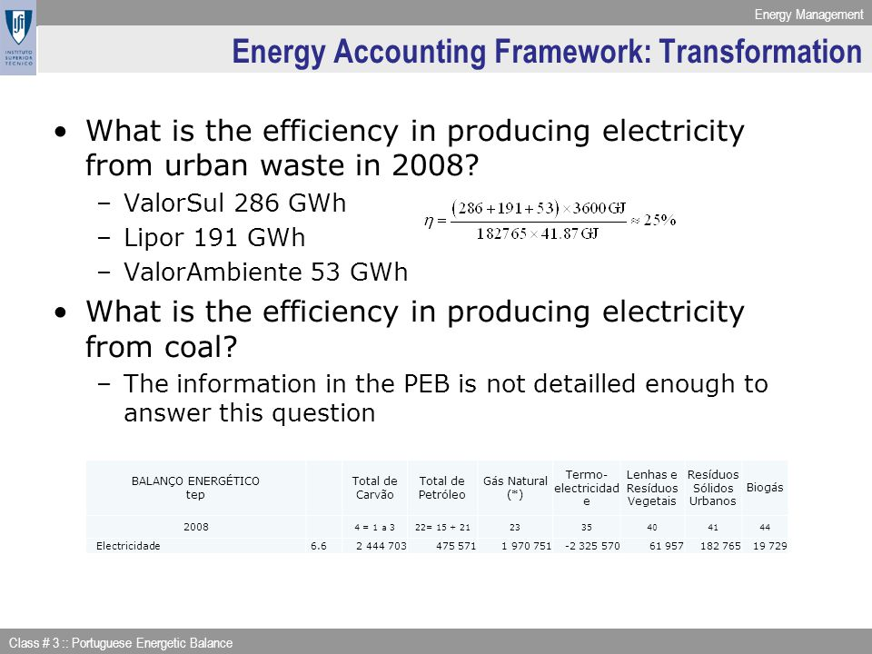 Energy Management Class # 3 :: Portuguese Energetic Balance Energy Accounting Framework: Transformation What is the efficiency in producing electricit