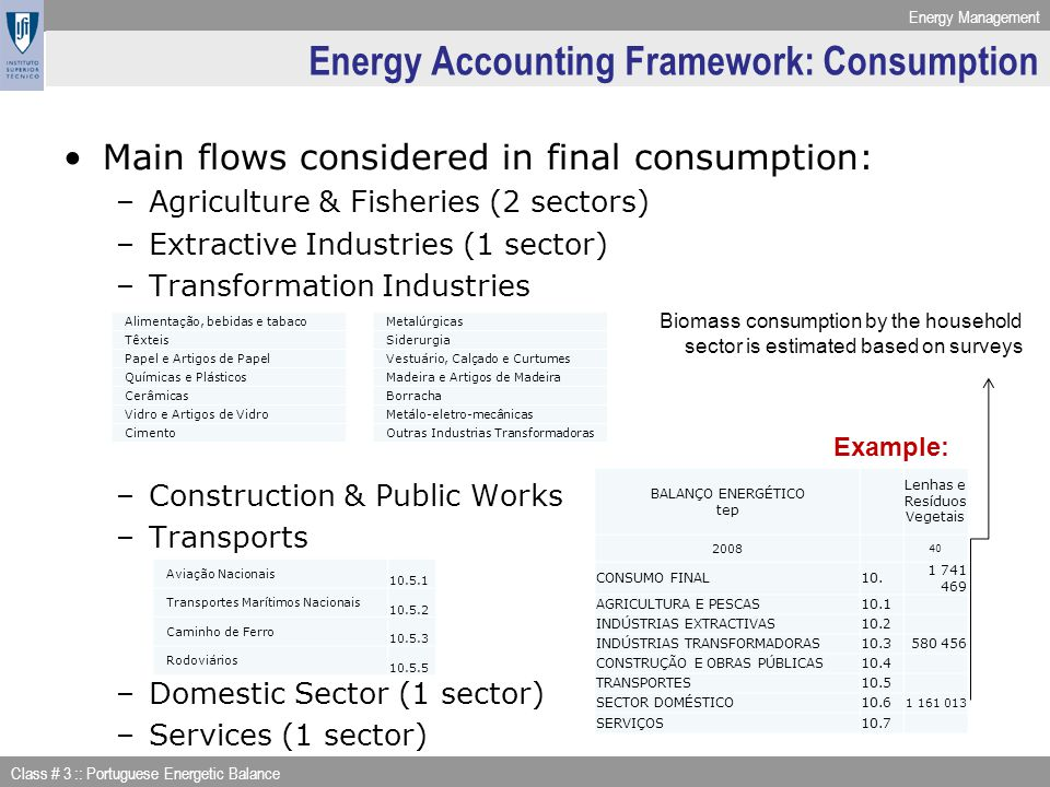 Energy Management Class # 3 :: Portuguese Energetic Balance Energy Accounting Framework: Consumption Main flows considered in final consumption: –Agri
