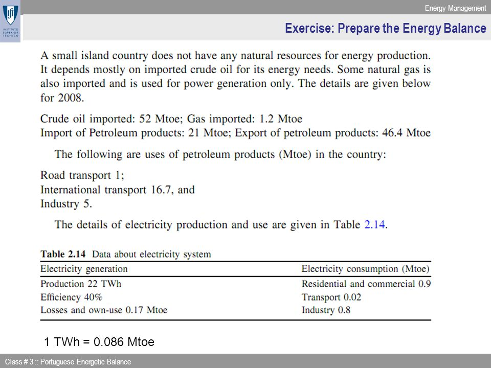 Energy Management Class # 3 :: Portuguese Energetic Balance Exercise: Prepare the Energy Balance 1 TWh = 0.086 Mtoe