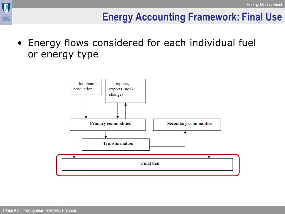 Energy Management Class # 3 :: Portuguese Energetic Balance Energy Accounting Framework: Transformation Energy Sector own consumption: Example: BALANÇO ENERGÉTICO tep Gás Natural (*) 2008 23 CONSUMO DO SECTOR ENERGÉTICO7.