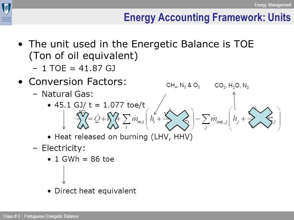Energy Management Class # 3 :: Portuguese Energetic Balance Energy Accounting Framework: Units The unit used in the Energetic Balance is TOE (Ton of o