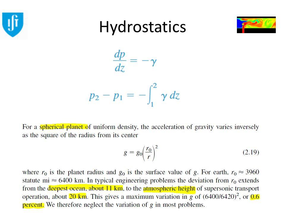 Engenharia do Ambiente Mecânica dos Fluidos Ambiental Hydrostatics