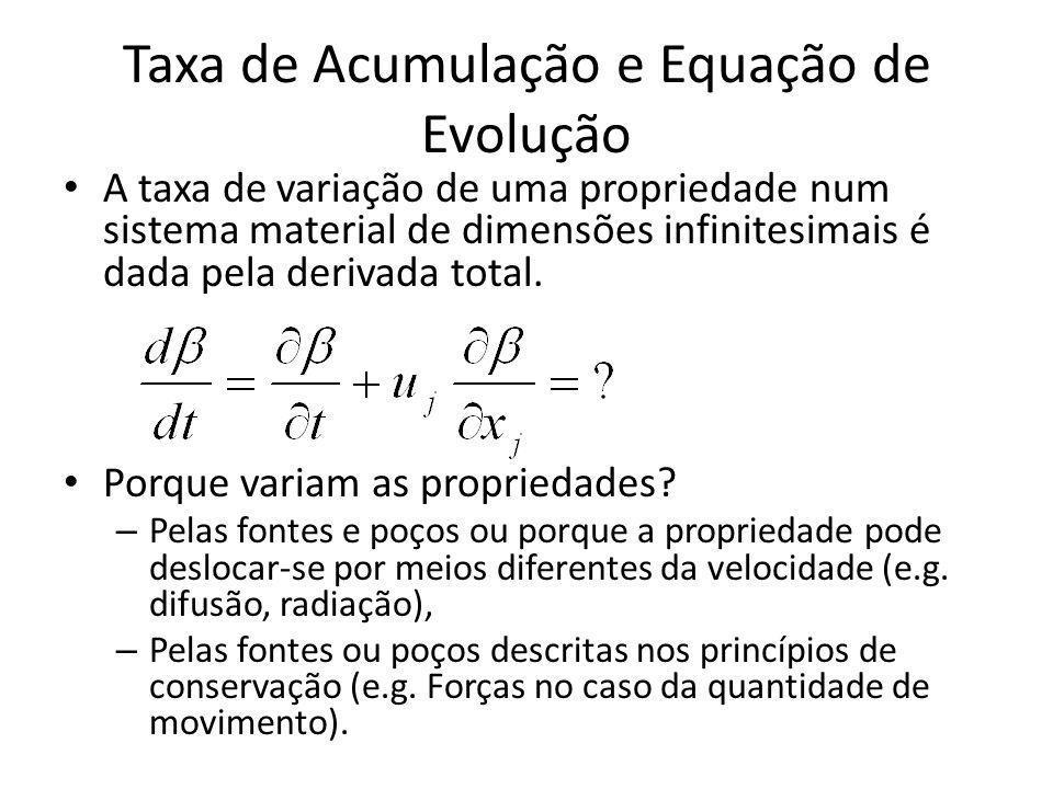 Taxa de Acumulação e Equação de Evolução A taxa de variação de uma propriedade num sistema material de dimensões infinitesimais é dada pela derivada t