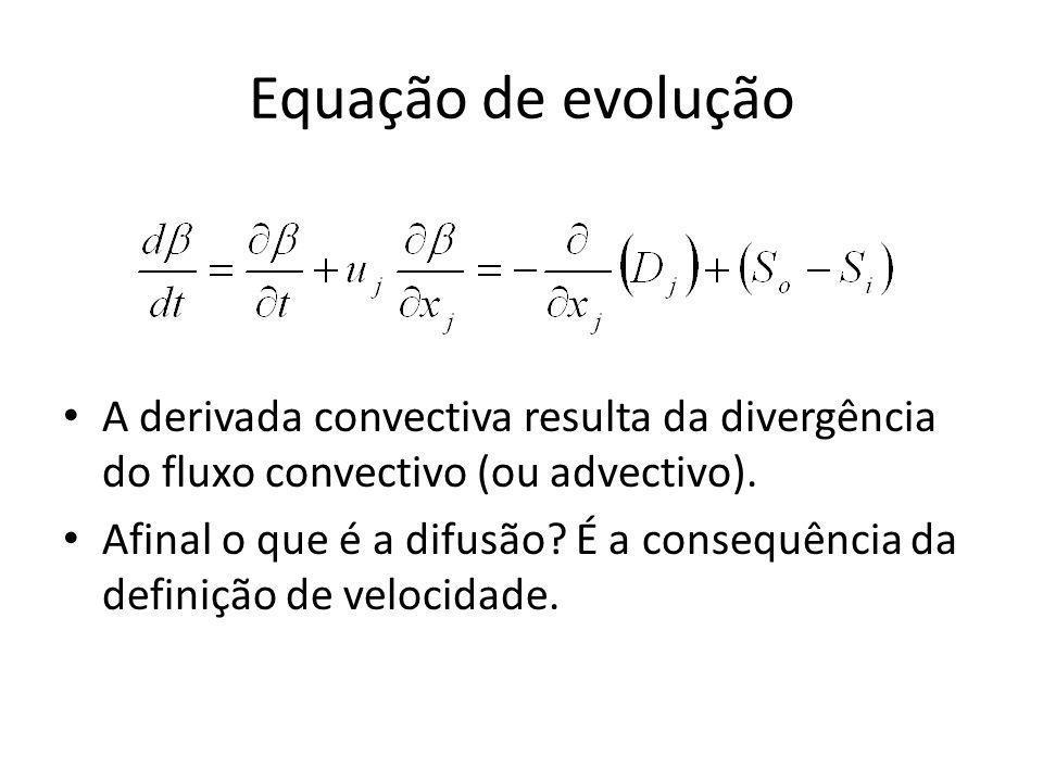 Equação de evolução A derivada convectiva resulta da divergência do fluxo convectivo (ou advectivo). Afinal o que é a difusão? É a consequência da def