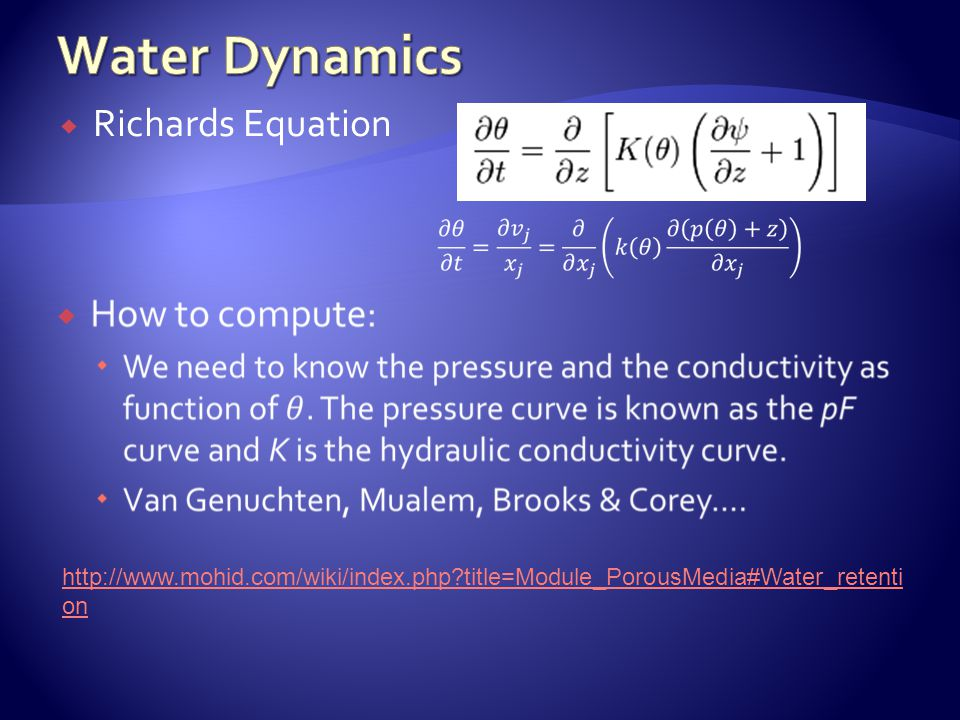 Richards Equation http://www.mohid.com/wiki/index.php?title=Module_PorousMedia#Water_retenti on