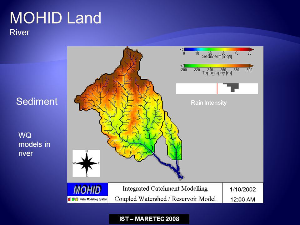 Rain Intensity Sediment IST – MARETEC 2008 WQ models in river MOHID Land River